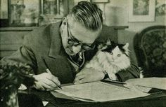 Jean Paul Sartre with Cat | by Brassaï – aka Gyula Halász (1899-1984, Hungarian)