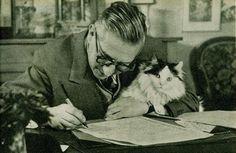 Jean Paul Sartre with Cat | by Brassaï – aka Gyula Halász (1899-1984, Hungarian)