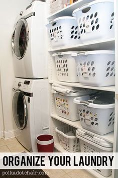 Laundry Room Shelving Idea- a great way to organize a small walk through laundry room.