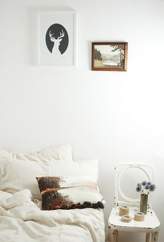 bedroom, bed, white, simple, interior, home, chair as bedside table, flowers, deer print, stag, frames