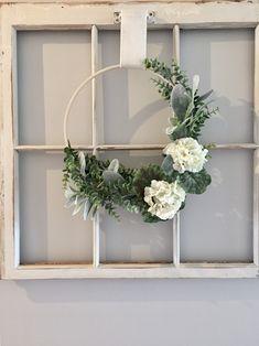 Spring wreath farmhouse embroidery hoop