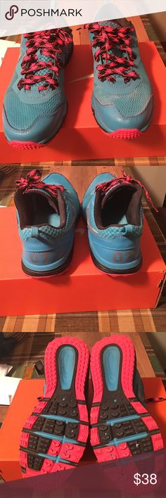 Women's Nike dual fusion trail N7 Dk turquoise / metallic silver and hot pink sneakers size 8.5.  Barely used Nike Shoes Sneakers