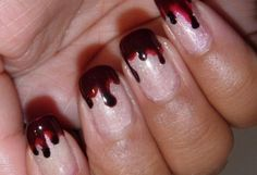 Vampire Blood Nails via Flavorwire: The 25 Craziest Works of Halloween Nail Art We've Ever Seen