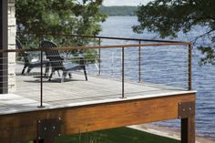 Custom Cor-Ten deck with stainless steel cable railings.