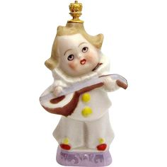 Art Deco Clown With Mandolin German Figural Crown Top Perfume Bottle from charmalier on Ruby Lane