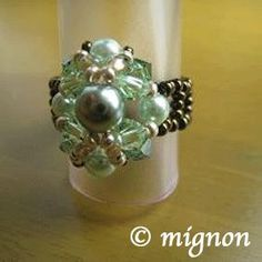 Pearl beads silver ring Green