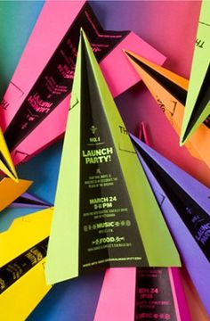 Now this is clever marketing. Who could resist a brightly colored paper airplane?