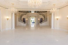 This Hillsboro Beach, Florida, mansion is outfitted with the most luxurious details and amenities. The main staircase includes a handwrought iron railing with gold leafing and took more than two years to complete.