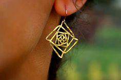 Ascension Earrings, Sacred Geometry Earrings, Alef Inspired Earrings, Creation Earrings, Creation Earrings, Kabbalah earrings, holiday gift by TzufitMoshel on Etsy