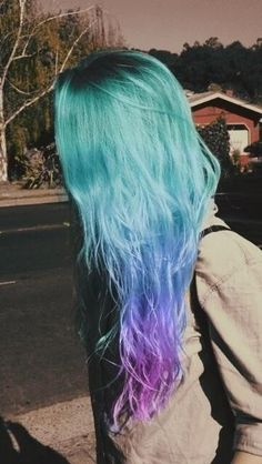 Hair color / tie dye / style / long hair / green / blue / purple / fushia / turquoise