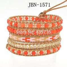 Hip hop jewelry bracelet 4mm stone crystal beaded and glass beads on genuine leather bangles handmade jewelry  JBN-1571