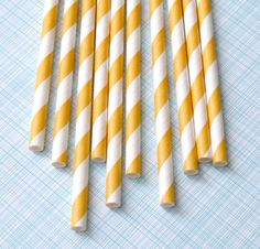Yellow Striped Paper Straws with DIY Flags (100). $16.00, via Etsy.