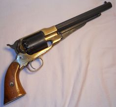 1858 Remington New Army .44 Caliber Brass Frame Black Powder revolver. Find our speedloader now! http://www.amazon.com/shops/raeind