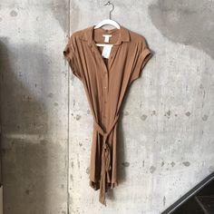 BNWT H&M brown shirt dress Brand new never worn. H&M Dresses