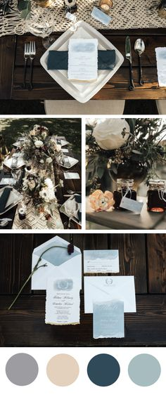 smoky blues and gold menus with hand tattered edges.  Love Notes Stationery Timeless weddings and events rachael marie photography rustic urban events flowers forever carlsbad willow creek ranch   #weddings #weddinginvitations #weddingpaper #weddingstationery #wedding #weddingideas #weddingcolors #weddingdetails #weddinginvites #weddingmenus