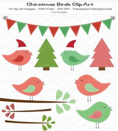 Christmas Bird Clip Art for Digital Scrapbooking