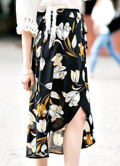 Chic Floral Print Asymmetric Hem Button Closure Belt Chiffon Midi Skirt