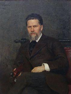 'Portret van de schilder Ivan Nikolajevich Kramskoi', 1882 / Ilja Repin (1844-1930) / Tretjakovgalerij, Moskou, Rusland.