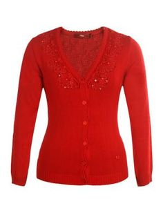 Embroidered Cardigan With Lacey Design.