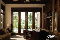 Transform your office into your favorite room to relax with Pella® Architect Series® hinged patio doors with sidelights