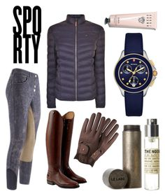 """The Sporty Equestrian / EQL.CO"" by eqlco on Polyvore featuring Roeckl, Hilfiger Denim, Le Labo, Michele and Bobbi Brown Cosmetics"