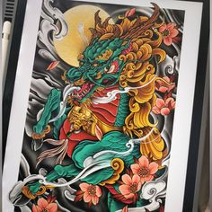 "Mark Torrans Artist on Instagram: ""Put together this Japanese Kirin piece for this weeks @bcskinworks drawing challenge, creatures of myth. First time drawing a kirin,…"" Horse Tattoo Design, Phoenix Tattoo Design, Skull Tattoo Design, Tribal Tattoo Designs, Dragon Tattoo Art, Dragon Tattoo Designs, Lion Tattoo, Japanese Dragon, Japanese Art"
