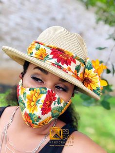 African Hats, Face Mask Set, Sunflower Print, Pattern Cutting, Head And Neck, Hair Ornaments, African Fabric, Headgear, Sun Hats