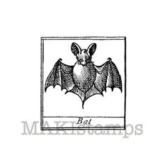 Halloween rubber stamp / Cute bat stamp / Unmounted by MAKIstamps