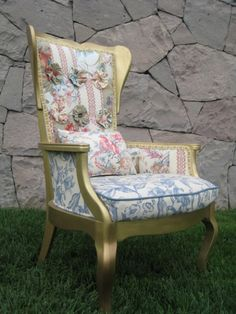 Louis XV Style Patchwork Chair.  Great website with ideas for vintage renewal.