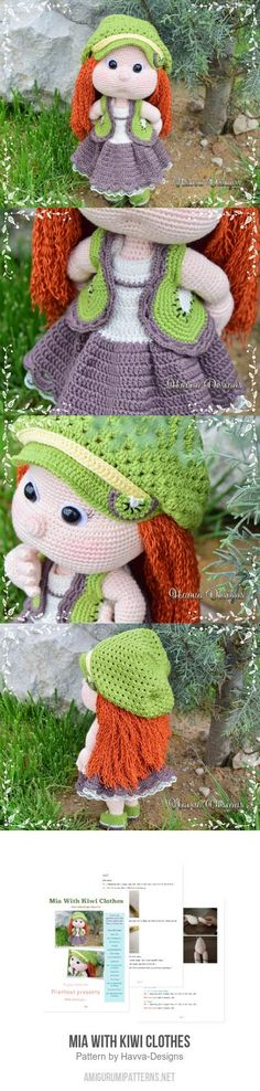 Mia With Kiwi Clothes Amigurumi Pattern