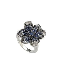 Look at this Sapphire & Diamond Curved-Petal Flower Ring on #zulily today!