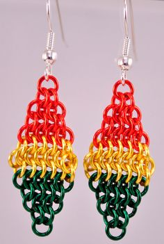 Chainmaille Rasta Earrings by TheAlaskanMailleMan on Etsy, $25.00