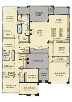 """Residence One - NextGen New Home Plan in Southern Highlands: Olympia Ridge by Lennar. The """"green area"""" would be reworked to make a workroom/studio. New House Plans, Dream House Plans, House Floor Plans, My Dream Home, The Plan, How To Plan, Next Gen Homes, Casa Hotel, Architecture 3d"""