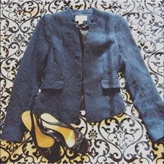 H&M Blue Blazer with White Stitch Design Like new. Too small for me . It's absolutely adorable with slacks or jeans. Deep pocket with flap on each side. Discreet hook closure. Goes great with silver pants or shoes because the white looks silvery from a few feet. H&M Jackets & Coats Blazers