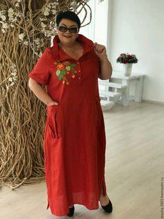 Купить или заказать Платье льняное в интернет-магазине на Ярмарке Мастеров. Платье льняное с элементами вышивки. Состав ткани: вываренный лён. Размеры 54-66. Авторская работа.