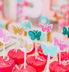 Sparkling Colorful Butterfly Birthday Cupcakes