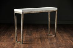 Dustin Narrow Console on Metal Base with Faux Shagreen Top Available in Cool Grey, Mushroom, Sand or Snow Faux Shagreen