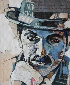Charlie Chaplin, Septimo art Collage Portrait, Paper Collage Art, Art Texture, Texture Painting, Mixed Media Artwork, Mixed Media Collage, Charlie Chaplin, Pop Art, Dance Paintings