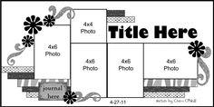 5 photo scrapbook sketch layout