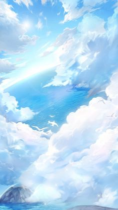 Image in Hell Event Sea and Sky album Blue Sky Wallpaper, Anime Scenery Wallpaper, Aesthetic Pastel Wallpaper, Landscape Wallpaper, Kawaii Wallpaper, Aesthetic Backgrounds, Aesthetic Wallpapers, Wallpaper Backgrounds, Sky Aesthetic
