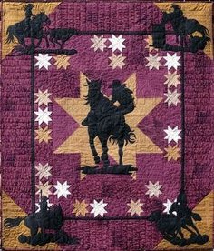 Rodeo Gals, 74 x by June Jaeger, at Log Cabin Quiltworks - She also has designed over 20 patterns for the Prairie Girls Quilt Shop of Prineville, Oregon. Boy Quilts, Girls Quilts, Star Quilts, Quilt Blocks, Quilting Projects, Quilting Designs, Quilting Ideas, Applique Designs, Danse Country