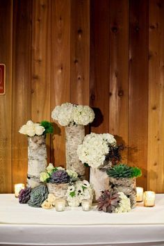 Birch Wedding Vases - not sure if I like these or not but great plant inspiration. Winter Wedding Receptions, Wedding Reception Centerpieces, Wedding Flower Decorations, Wedding Flower Arrangements, Flower Centerpieces, Flower Bouquet Wedding, Wedding Centerpieces, Winter Weddings, Wedding Ideas