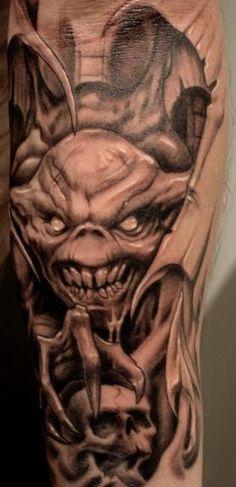 Paul Booth Photos on Myspace - Tattoos Evil Skull Tattoo, Evil Tattoos, Skull Sleeve Tattoos, Native Tattoos, Wicked Tattoos, Creepy Tattoos, Black Ink Tattoos, Skull Tattoo Design, Badass Tattoos