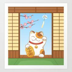 Maneki Neko Art Print by Natalia Linnik - X-Small Anime Cat, Maneki Neko, From The Ground Up, Buy Frames, Printing Process, Gallery Wall, Make It Yourself, Art Prints, Unique Art