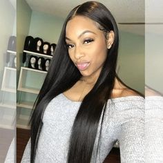 High quality lace front wig black long natural hairline cillyy mall - June 22 2019 at Black Hairstyles With Weave, Straight Hairstyles, Human Lace Wigs, Straight Layered Hair, Color Your Hair, Hair Quality, Long Wigs, Hairline, Wig Hairstyles