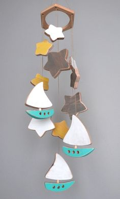 Wooden baby mobile, nursery baby mobile, boats and stars,  turquoise and white