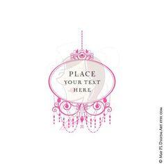 Pink Chandelier Retro Frames Clipart Ornate Frame Png Files DIY