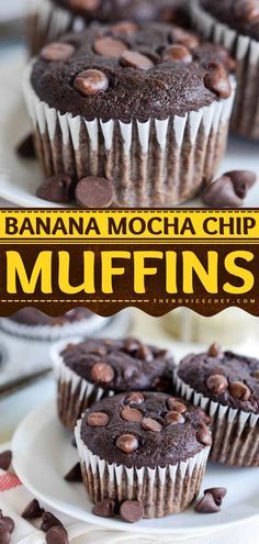 Everything you could need in an easy breakfast muffin or afternoon snack is here! With chocolate chips and espresso flavor, these double chocolate banana muffins are sure to become your favorite back… Gourmet Recipes, Baking Recipes, Snack Recipes, Dessert Recipes, Cupcake Recipes, Brunch Recipes, Easy Recipes, Desserts, Savory Breakfast