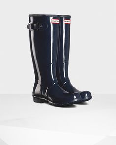 Hunter Women's Original Tall Gloss Rain Boots - Blue