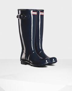 Hunter Women's Original Tall Gloss Rain Boots - Blue